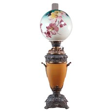 Massive Signed Miller Banquet Lamp with Original Hand Painted Globe - 1880's