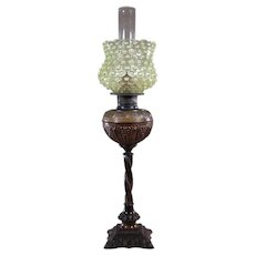 Gas Portable Table Lamp with Hobnail Vaseline Globe