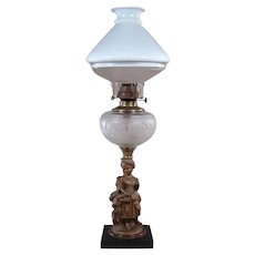 Figural Kerosene Lamp with Illuminator Shade - 1880's