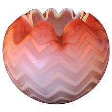 Herringbone Pink Glass Rose Bowl - 1890's
