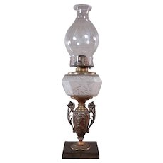 Miller Kerosene Lamp with Etched Embossed Fount and Owl Chimney