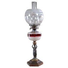 Kerosene Lamp with Ruby Band, Etched Shade and Figural Woman - 1880's