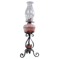 Early Primitive Painted Iron & Tin Kerosene Lamp - 1860's