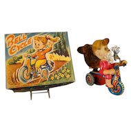 Celluloid & Tin Girl Riding Tricycle Wind-up Toy - Mint In Box