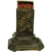 Cast Iron Match Holder Ash Tray with Dickensian Character - 1910