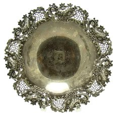 Beautiful Cast Sterling Bowl with Reticulated Floral Border