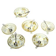 Cut Glass and Sterling Engraved Salts - Set of 6