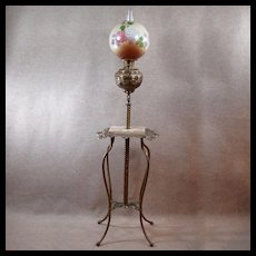 Iron & Brass Ornate Piano Lamp with Original Hand-painted Globe - 1880's - Red Tag Sale Item