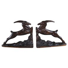 Art Deco Leaping Gazelle Cast Iron Bookends - 1920's