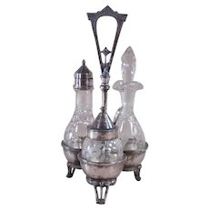 Victorian Three-piece Silver Plated Cut Glass Condiment Set