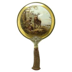 Porcelain Hand Mirror with Hand-painted Deer Scene - c.1905