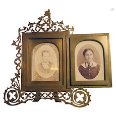 Ornate Victorian Picture Frame with Brass/Bronze Fretwork - 1870's