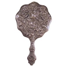 Sterling Art Nouveau Hand Mirror with Floral Repoussé Bust of Woman