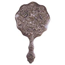 Sterling Art Nouveau Hand Mirror with Floral Repoussé Bust of Woman