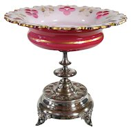 Silver Plated Opal and Cranberry Glass Compote with Angels