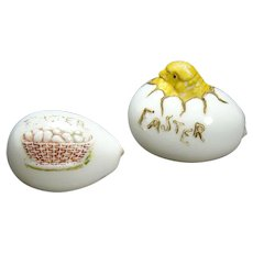 Embossed Opalene Glass Easter Eggs with Chicken and Basket