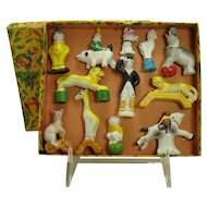 Bisque Circus Animals and Performer Figurines - Mint in Box - 1920's
