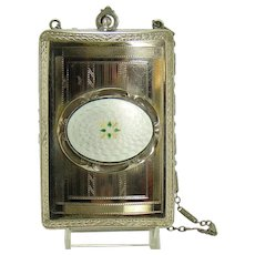Early Ladies Compact with Gilloche Oval Mount and Ornate Embossing