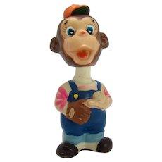 Alps Hard Vinyl Baseball Player Monkey Wind-up Toy