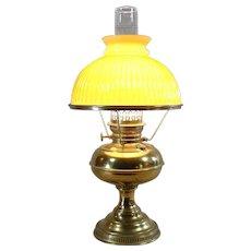 Brass Kerosene Lamp with Cased Butterscotch Shade - 1890's