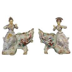 Bisque Nodding Oriental Figurine Nodder Planters