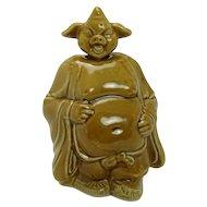 Asian Porcelain Pig Buddha Nodder with Brown Glaze