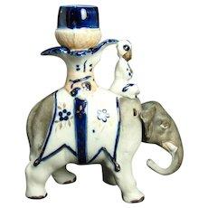 Rare Bisque Elephant Candle Holder Nodder