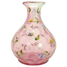 Enameled Inverted Thumbprint Cranberry Glass Vase - 1880's