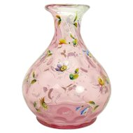 Enameled Inverted Thumbprint Cranberry Glass Vase - 1880's