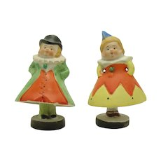 Hand Painted Bisque King and Queen Nodders or Swingers (Pair)