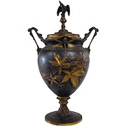 Bronzed Covered Urn with Dragonflies, Crowned Eagle and Blown-out Raspberries - 1870's