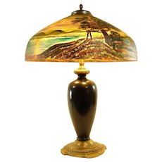 Pittsburgh Reverse Painted Lamp with Chipped Ice Effect - Rare