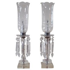 Extra Large Cut Glass Mantle or Table Lamps with Cut Glass Spears (Pair) - 1930's