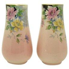 Royal Winton Hand Painted Porcelain Floral Vases