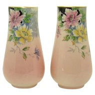 Royal Winton Hand Painted Porcelain Floral Vases (Pair)