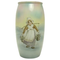 Hand Painted Royal Bayreuth Porcelain Vase with Dutch Girl & Bridge Scene - 1910