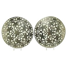 Hand Engraved Heavy Sterling and Glass Trivets (Pair) - 1890