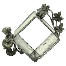 Ornate Meriden Silver Plated Napkin Ring with Little Boy and Bird