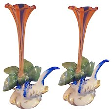 Art Glass Trumpet Place Card Holders on Porcelain Bases - 1890's