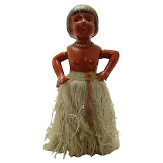 Large Celluloid and Tin Dancing Hula Girl Wind-up Toy - Near Mint