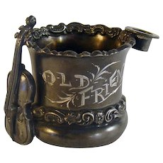 Silver Plated Toothpick Holder with Cello and Top Hat - 1880's
