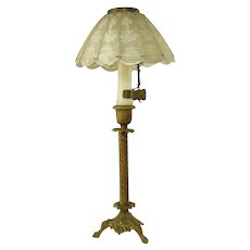 Solid Brass Candle Holder with Pierced Shell Shade