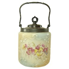 Wavecrest Biscuit Container with Silver Plated Mounts c.1900