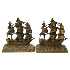 """Cast Iron Sailing Ship Bookends - """"A Galleon in the Time of Elizabeth"""" - 1924"""