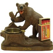 Carved Walnut Bear Smoking Pipe Match Holder Ashtray - Black Forest