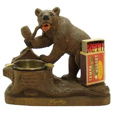 Carved Walnut Bear Smoking Pipe Match Holder Ashtray - Black Forest
