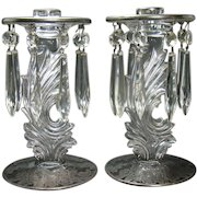 Candle Holders with Cut Glass Prisms and Silver Overlay - 1920's