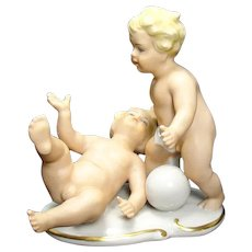 German Porcelain Boys Playing with Soccer Ball Figrurine c.1920's