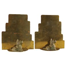 Art Deco Bookends with Scottie Dogs - 1920's