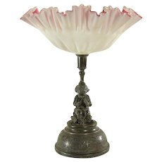 Victorian Pink Satin Glass Bride's Basket - Putti Playing Fife - 1880's